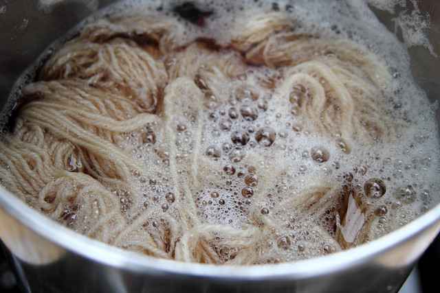 Yarn added to the dye bath