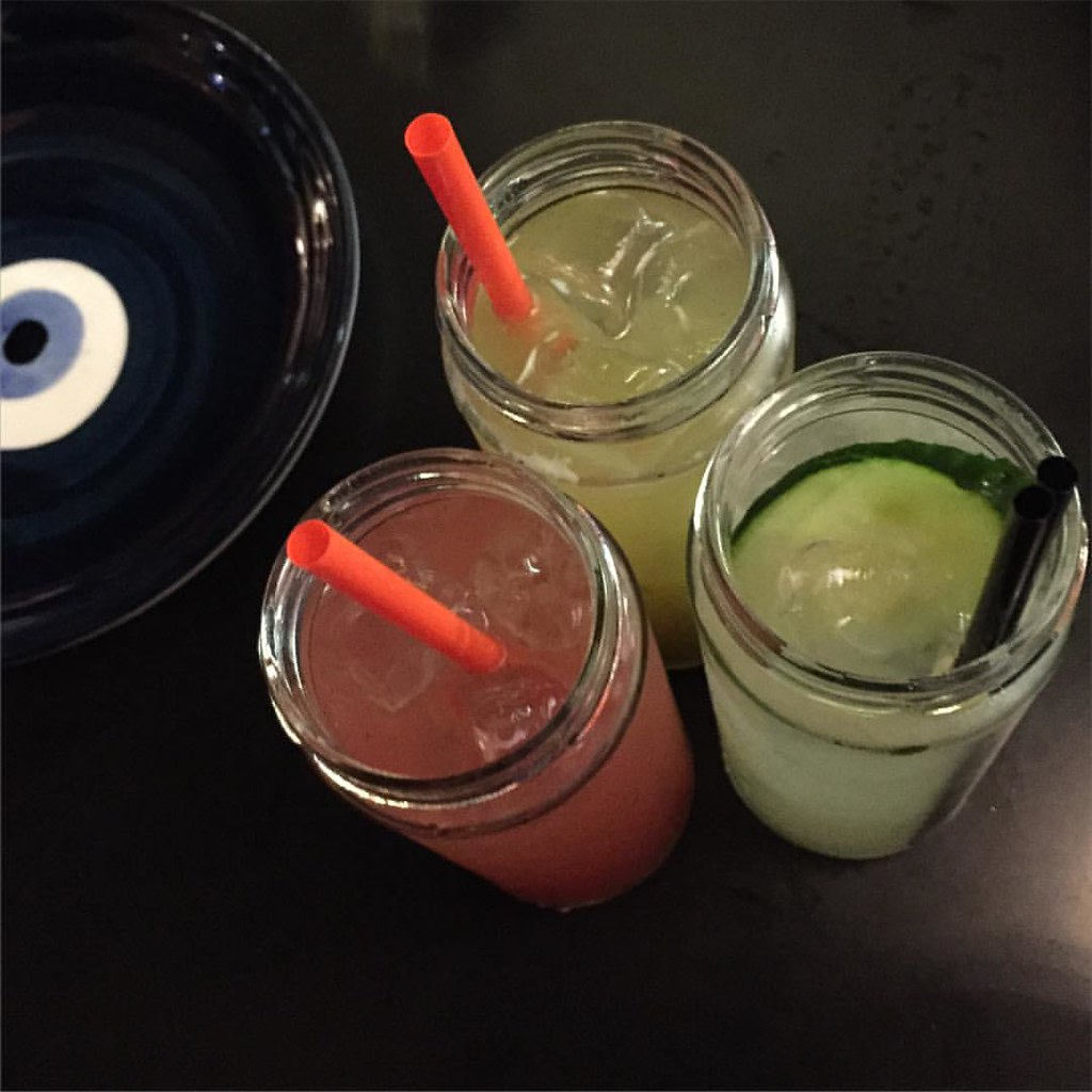 elderflower and cucumber, pear and basil, and watermelon, ginger and vanilla sodas at gazi melbourne