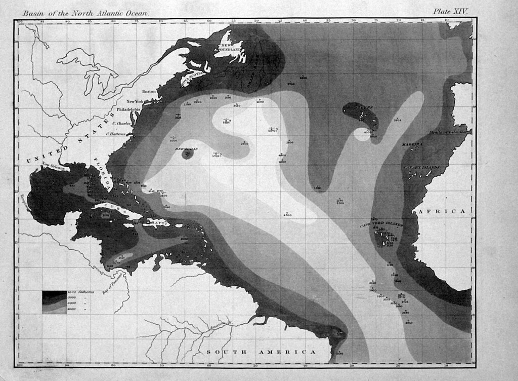 Printed map of bathymetry