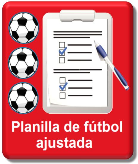 planilla de fútbol ajustada