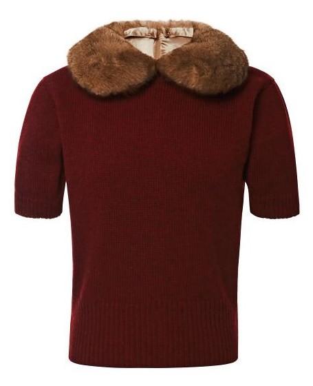 свитер с меховым воротником
