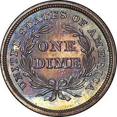 Pittman Gem 1837 No Stars Proof Dime reverse