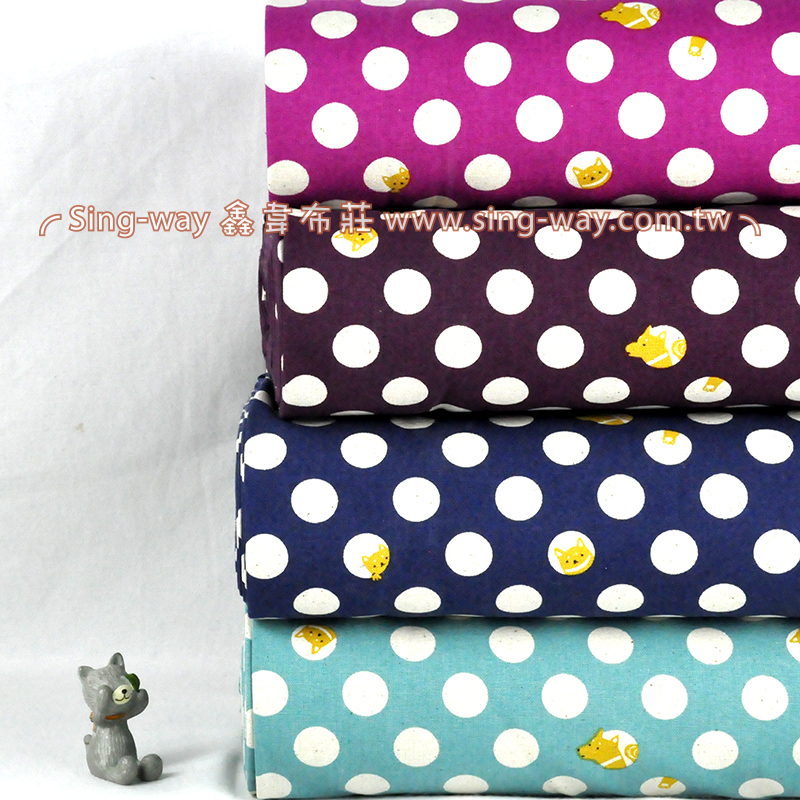 米點小黃狗 可愛動物 水玉 手工藝DIy拼布布料 CF550559