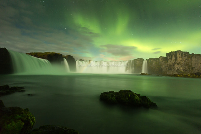 Iceland Scenery - Godafoss Waterfall and Northern Lights