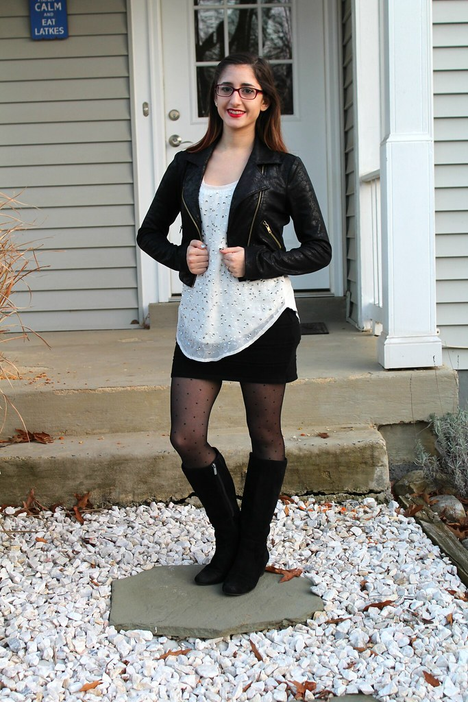 Black, white, and sequin outfit for New Year's Eve