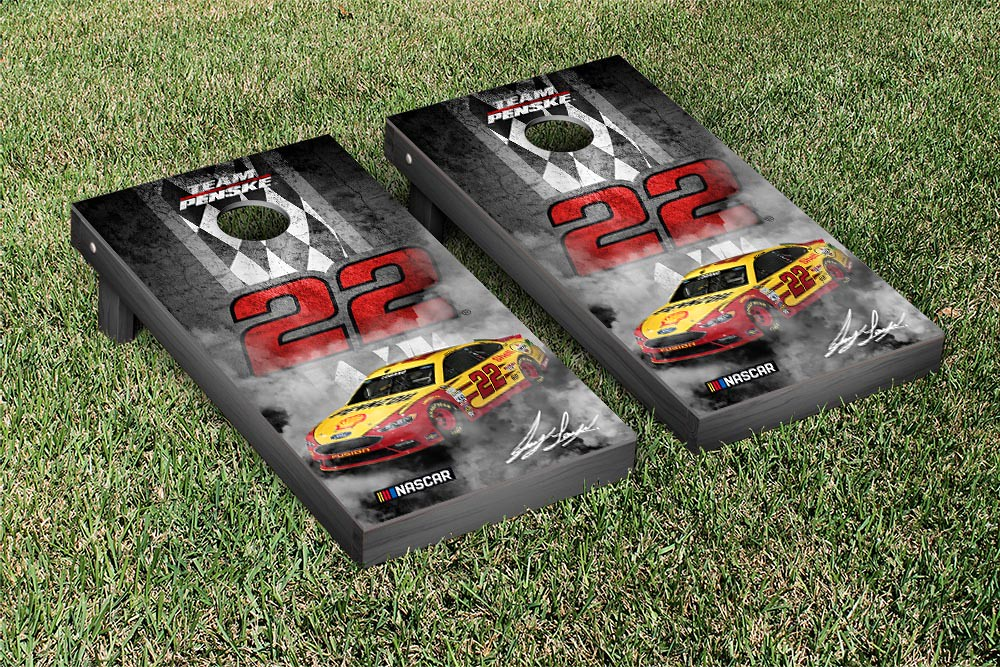 JOEY LOGANO #22 CORNHOLE GAME SET PIT ROW VERSION (1)