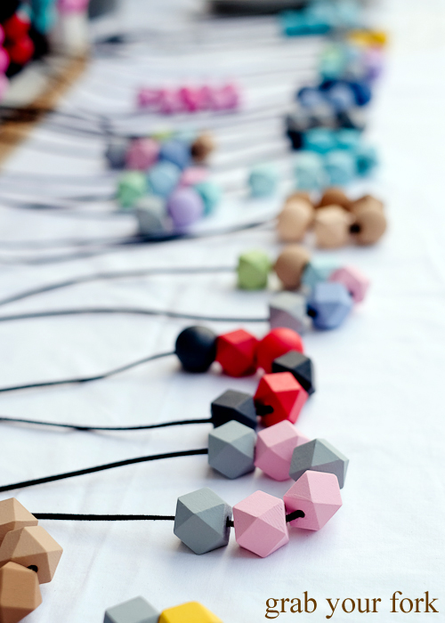 Polymer clay bead necklaces at the Salamanca Market in Hobart