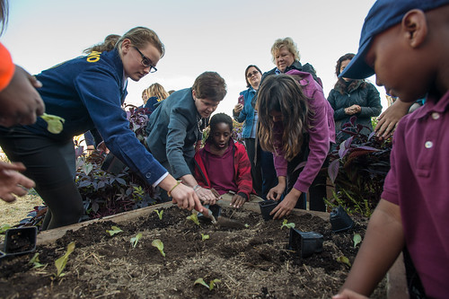 "Agriculture Deputy Secretary Krysta Harden (center), helping a Jefferson Middle School student finish up the planting of ""Outredgeous Red Romaine Lettuce"" in a garden box, in The People's Garden at USDA's Whitten Building."