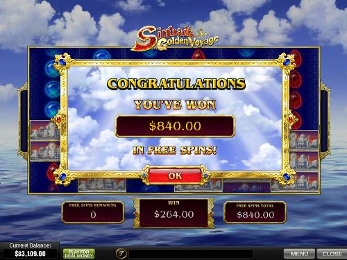 free Sinbad's Golden Voyage free spins win