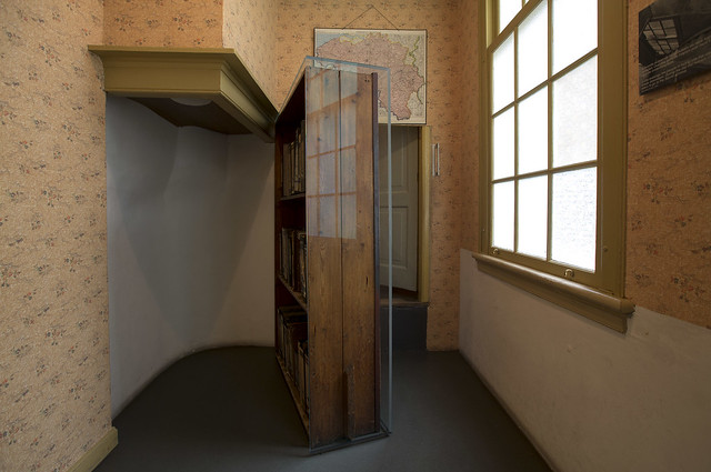 The movable bookcase conceals the entrance to the Secret Annex
