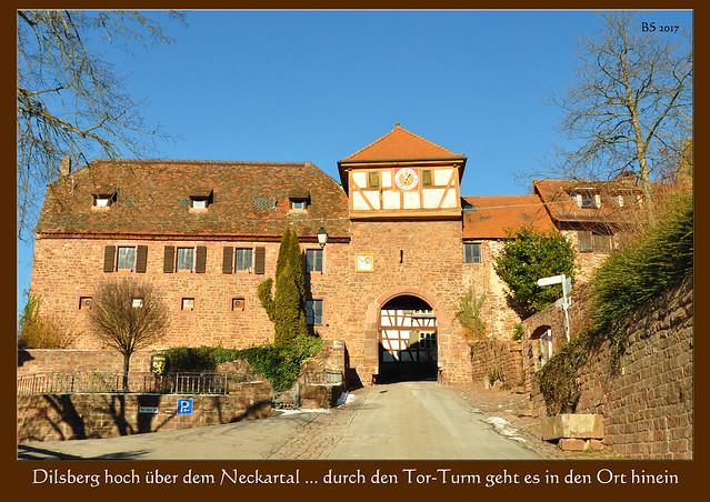 """Bergfeste Dilsberg im """"Kleinen Odenwald"""" hoch über dem Neckartal ... Burgruine, Tor-Turm, Kommandantenhaus ... Impressionen im Schnee ... Fotos: Brigitte Stolle, Mannheim 2017"""