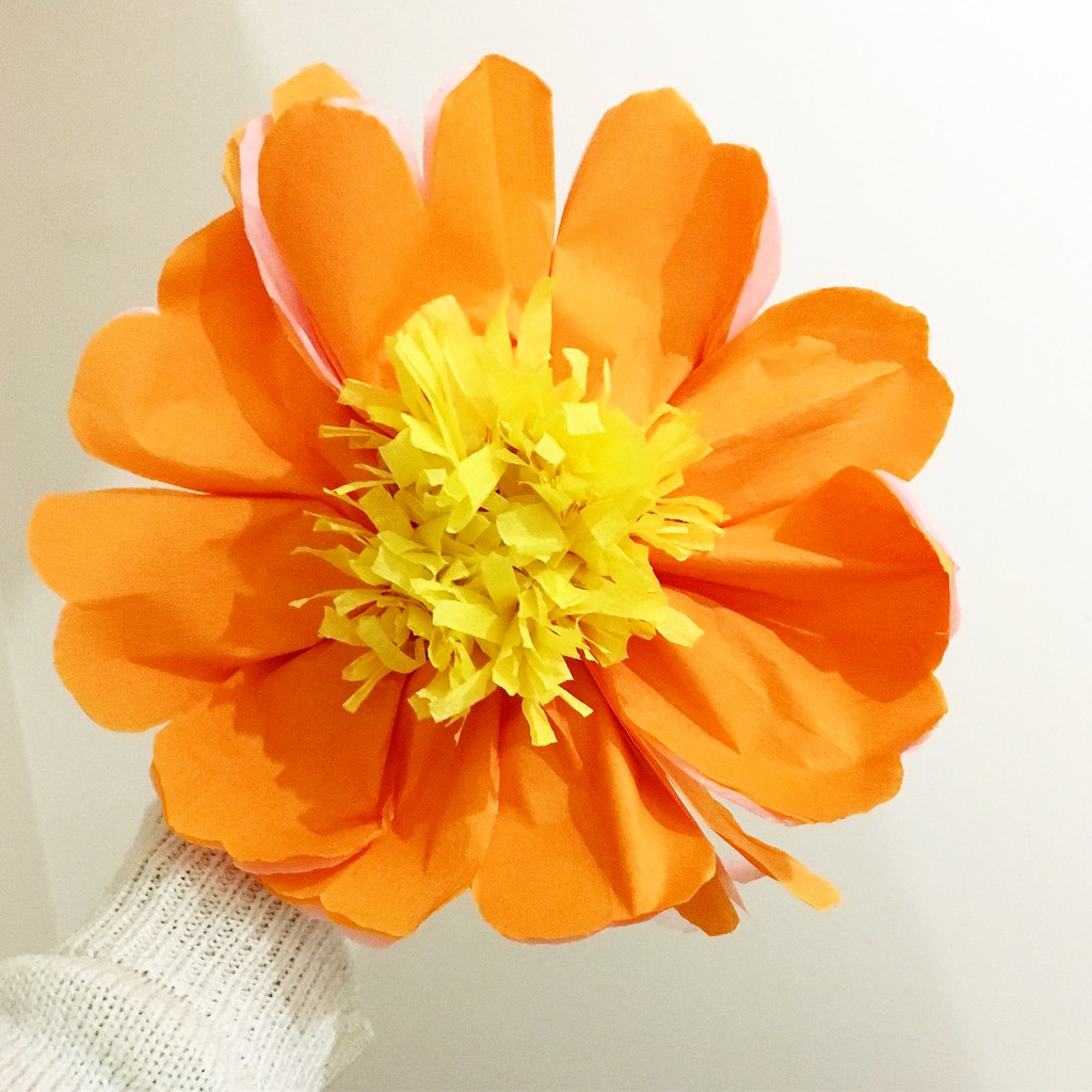 paper flower making - large orange