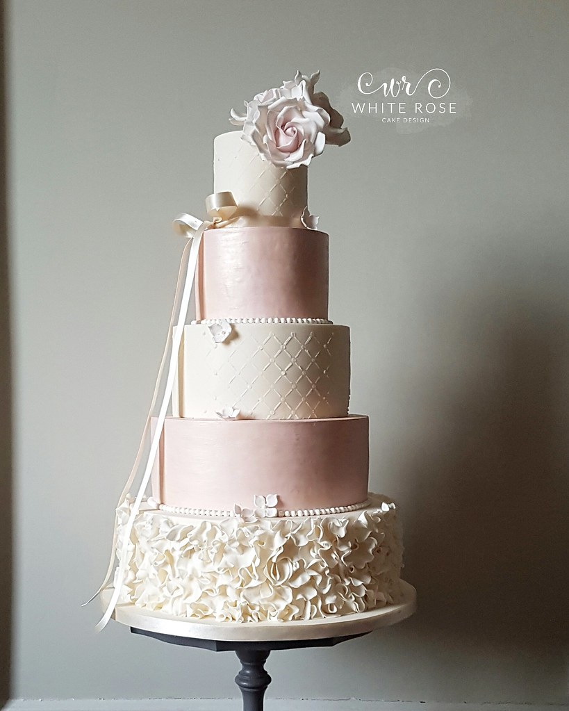 Five Tier Pink and Ivory Ruffles Wedding Cake with Blush R… | Flickr