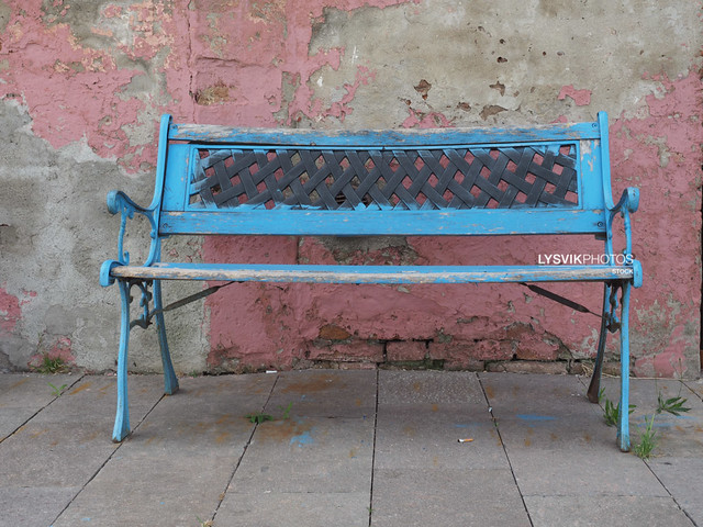 Blue painted Wooden bench