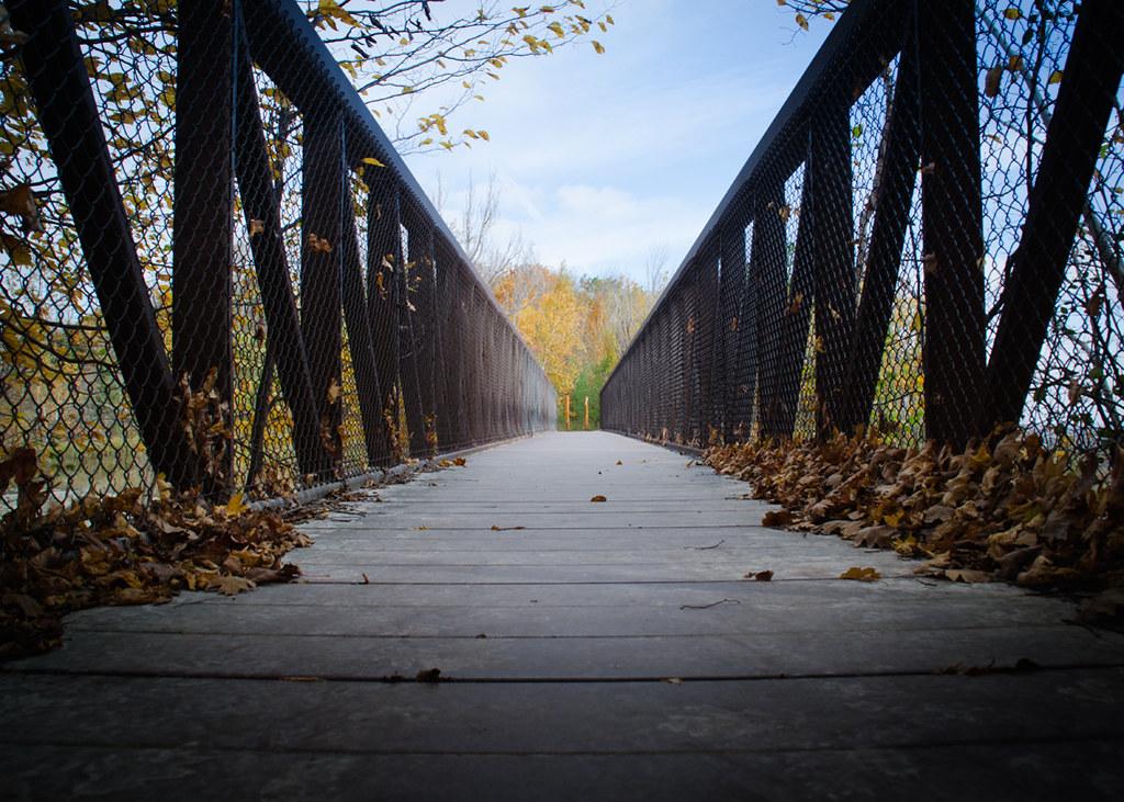 The bridge near Dufferin Quarry on the Bruce Trail near Hilton Falls