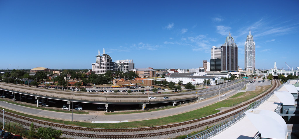 Downtown Mobile Al From Gulfquest Museum Roof Four