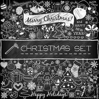 47346986-Doodle-Christmas-season-icons-and-vintage-graphic-elements-Chalkboard--Stock-Photo | by lyvu2