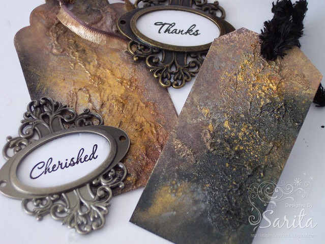 Lindy's metallic magicals mixed media grunge tag 3