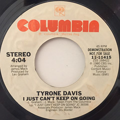 TYRONE DAVIS:I JUST CAN'T KEEP ON GOING(LABEL SIDE-B)