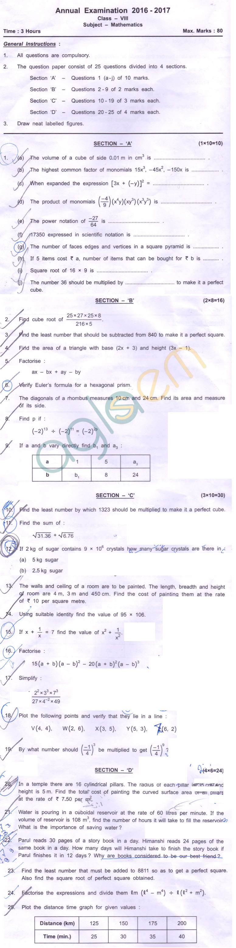 CBSE Class 8 SA2 Question Paper for Math – AglaSem Schools