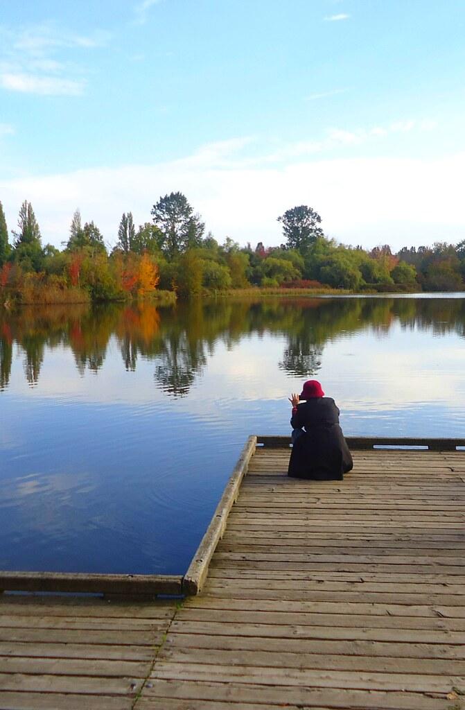 温哥华鳟鱼湖的秋景