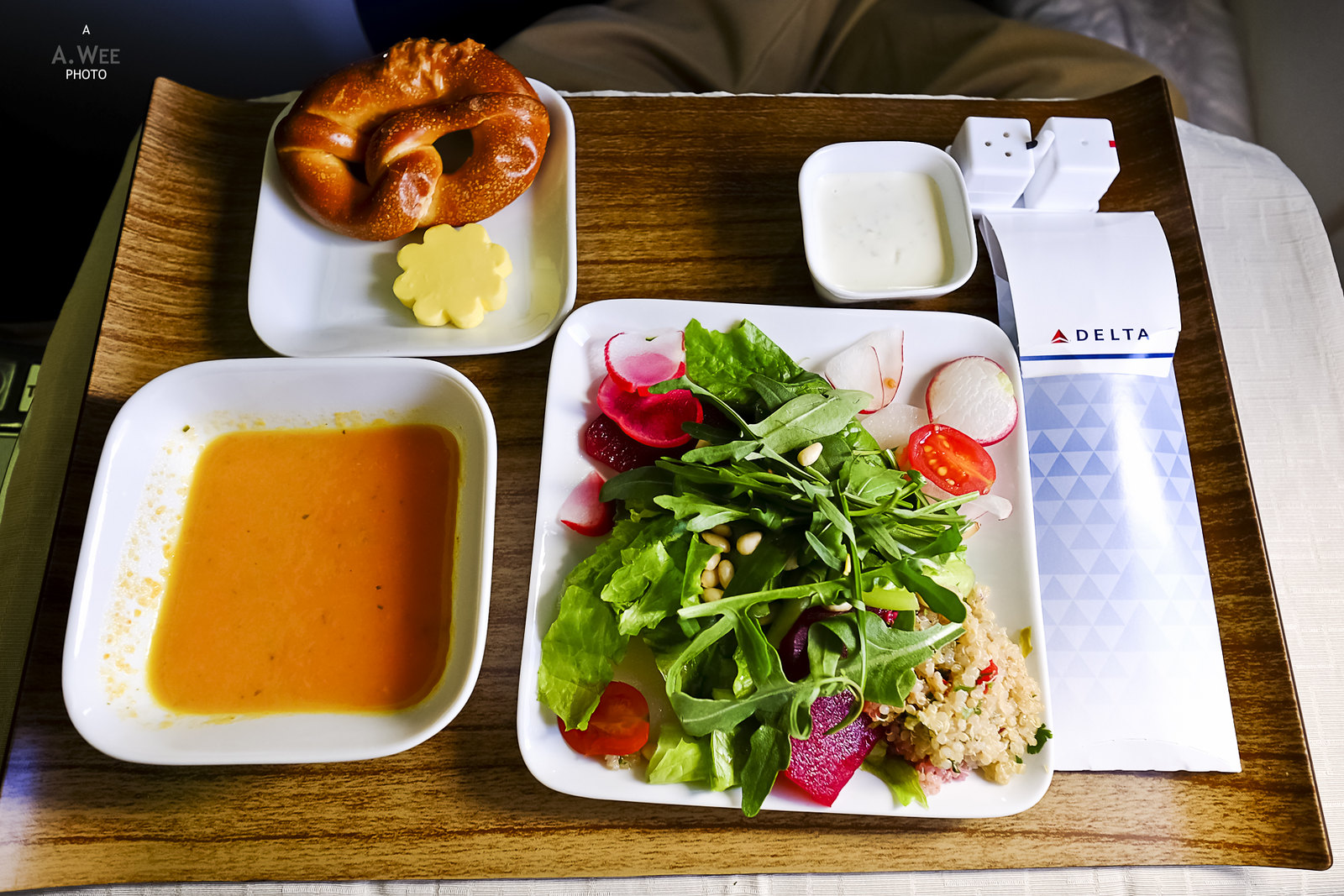 Salad, soup and pretzel