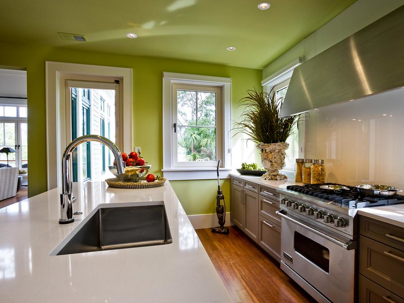 Bright Green Kitchen Walls White Countertop Greenery Pantone's 2017 Color of the Year