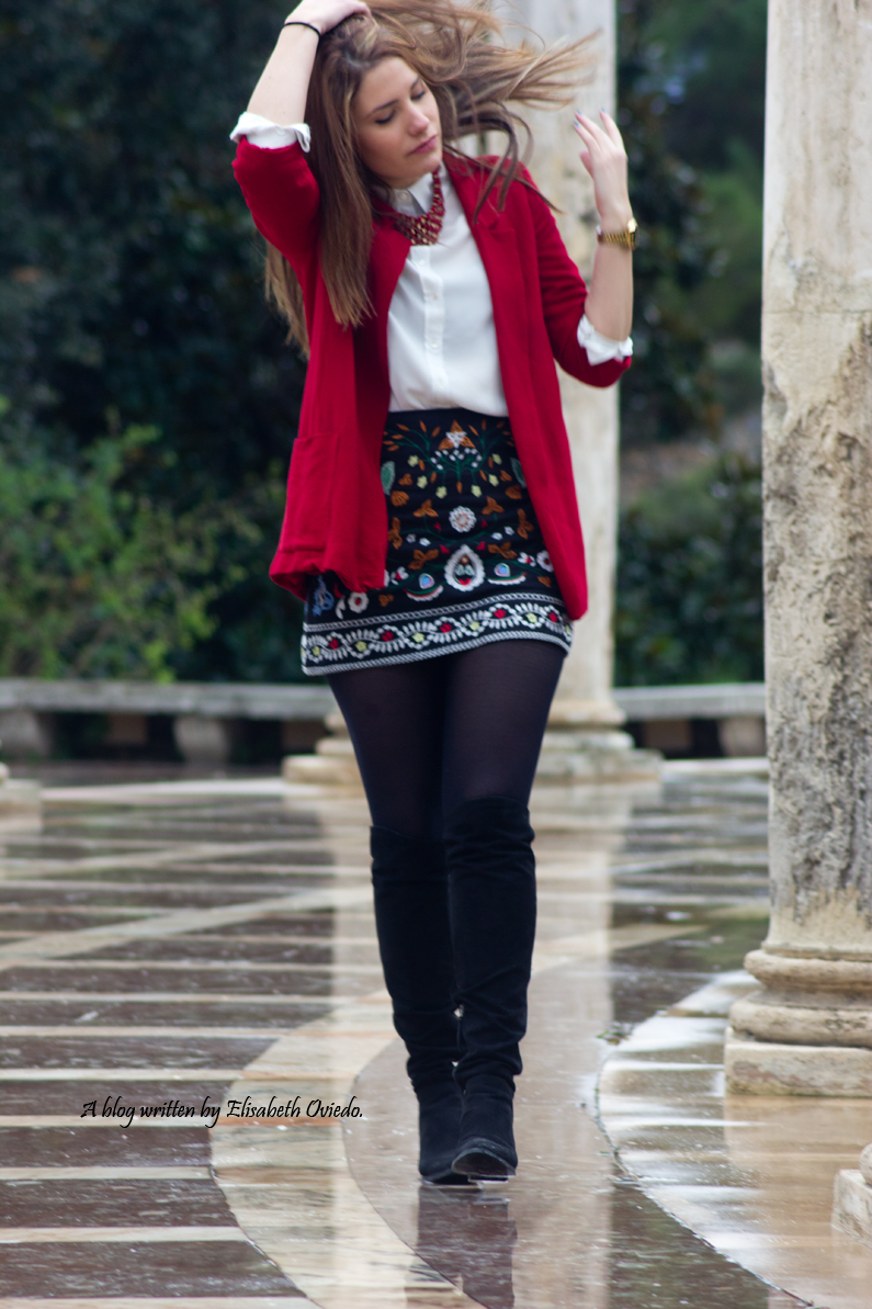 falda zara zaful negra estampado tribal blazer roja look  (4)