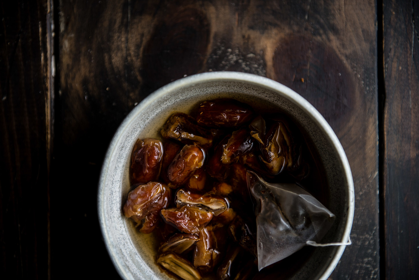 tea-soaked dates with mascarpone | two red bowls