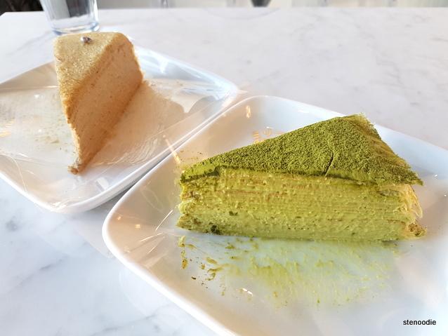 Earl Grey, Matcha Mille Crêpe cake
