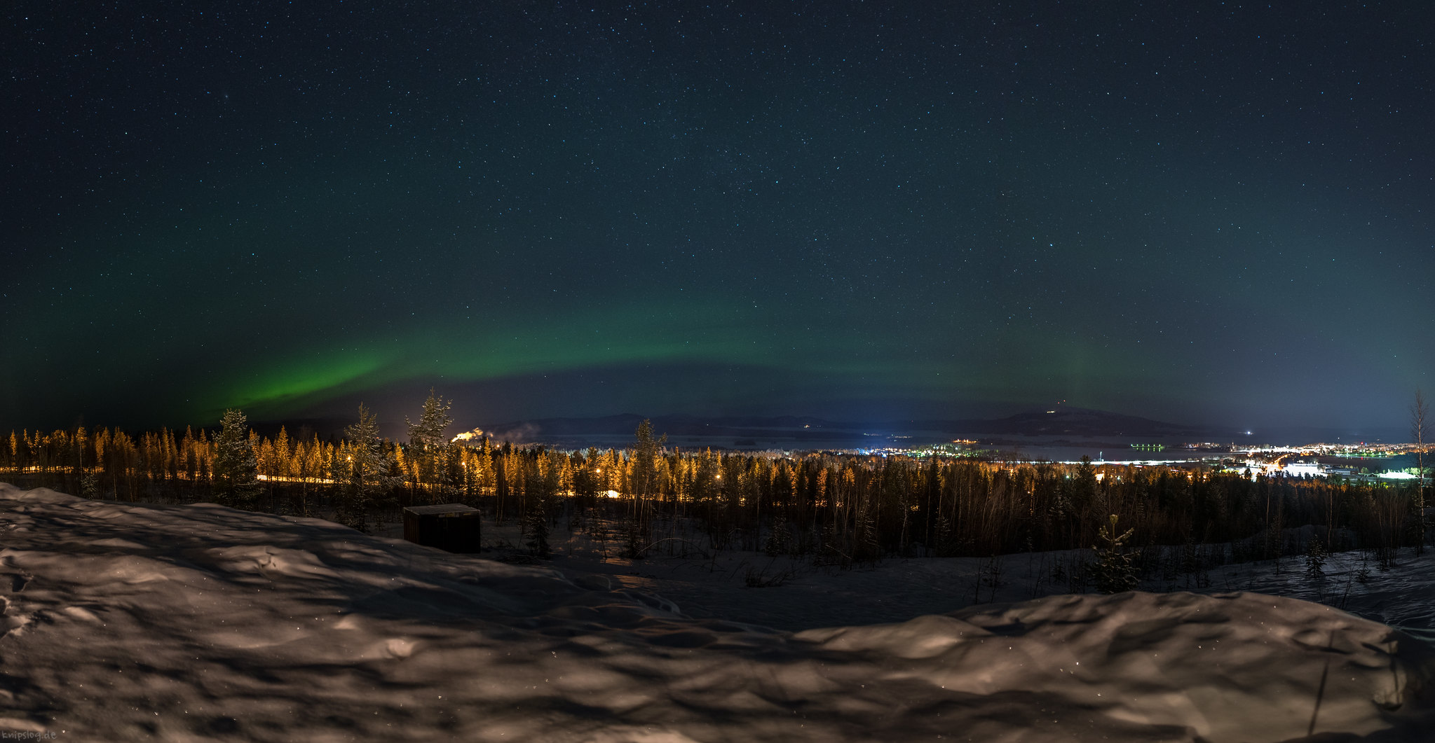 Panorama of polar lights