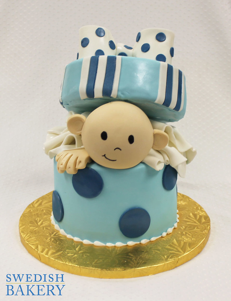 Baby Surprise Single Tier Fondant Baby Shower Cake With F Flickr