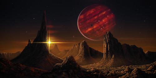 A képen a művész egy csillag - barna törpe kettősrendszerben lévő bolygóról nézve ábrázolja abarna törpét. A rajz fantáziarajz.