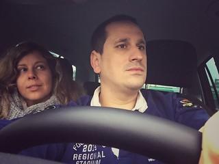 Sele y Rebeca en el coche alquilado con Sixt por Alemania