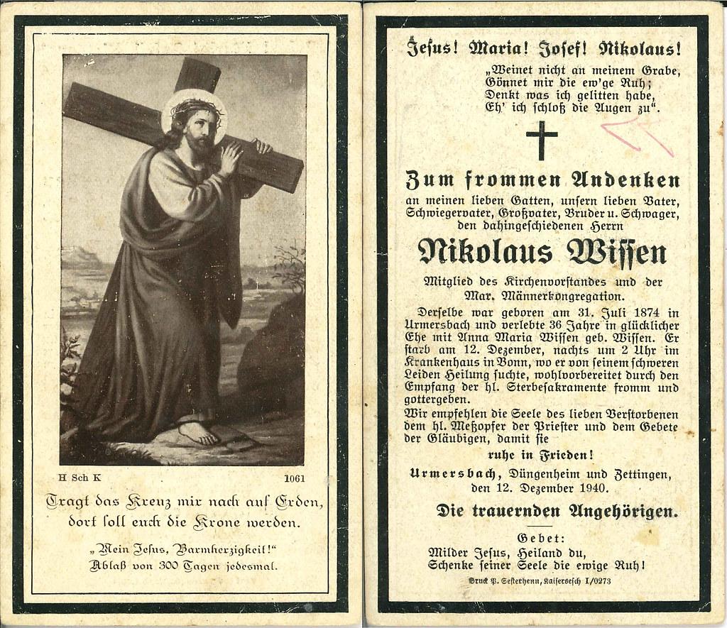 Totenzettel Wissen, Nikolaus † 12.12.1940