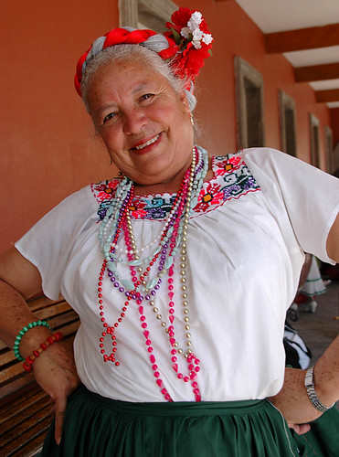 This cheerful lady was part of a troupe of dancers called 'Las Margaritas' in Tonala, Mexico
