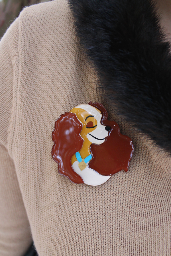 disney lady dog brooch