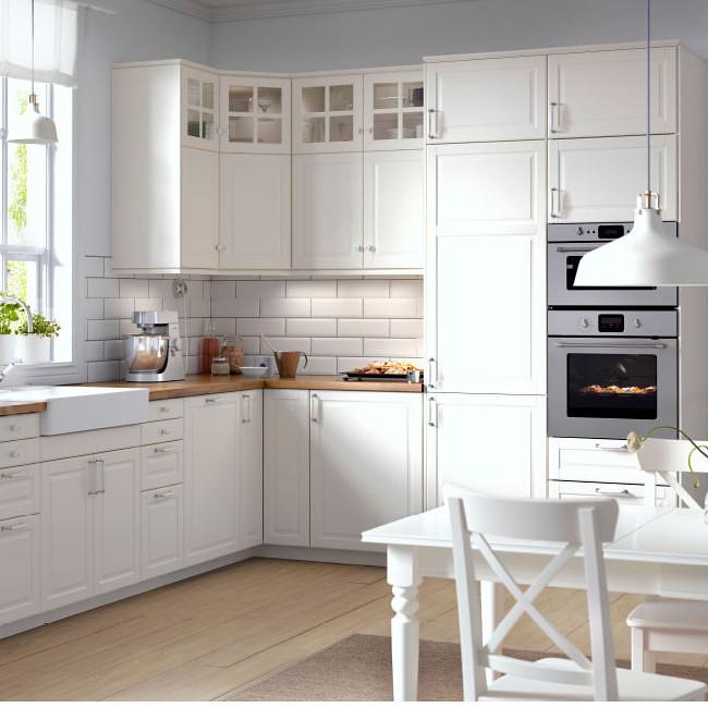 Meble kuchenne Bodbyn, białe, IKEA, cena zestawu uzależnio   -> Kuchnia Prowansalska Meble Ikea