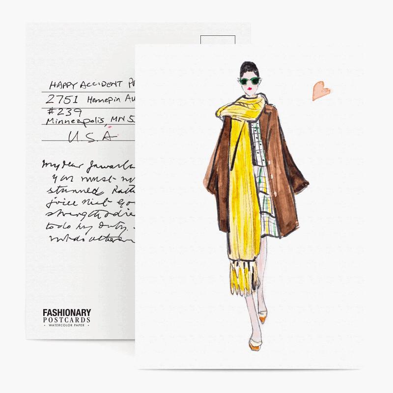 fashionary watercolor paper postcard set female edition
