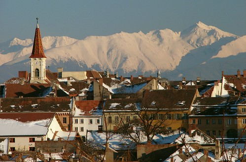 Reformed Church - Sibiu Romania with Negoiu Peak | by CamilG