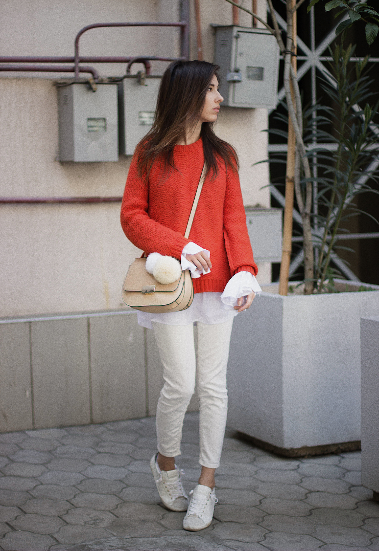 bright knitwear and bell sleeves