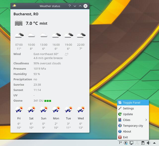 Kubuntu 17.04. Виджет погоды Meteo QT