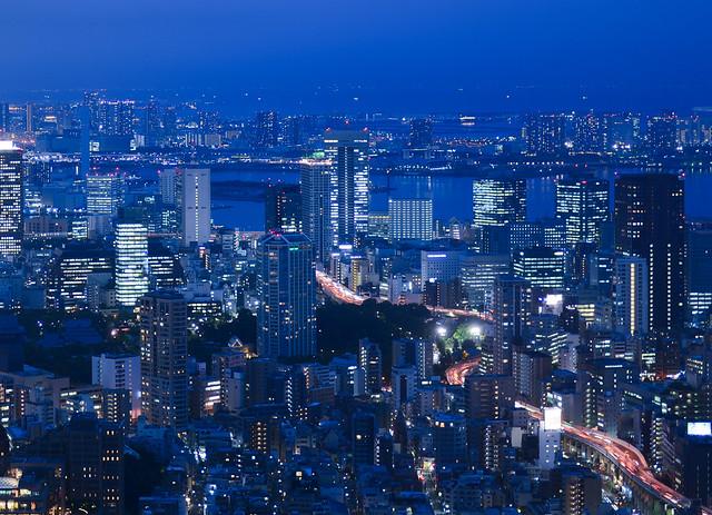 La bahía de Tokio desde el skydeck de las Roppongi Hills