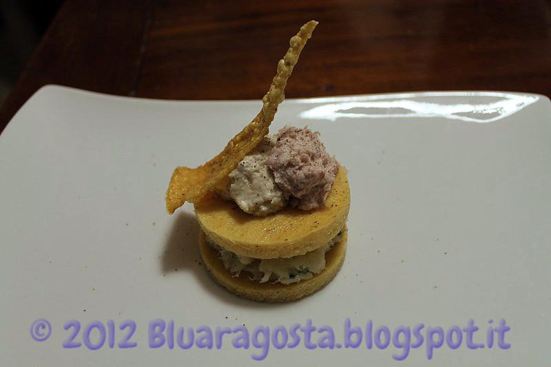 03-polenta e baccalà con due mousse e chips di polenta