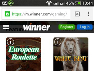 Winner Mobile Casino Lobby
