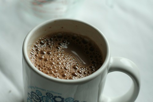 A frothy mug of hot cocoa.