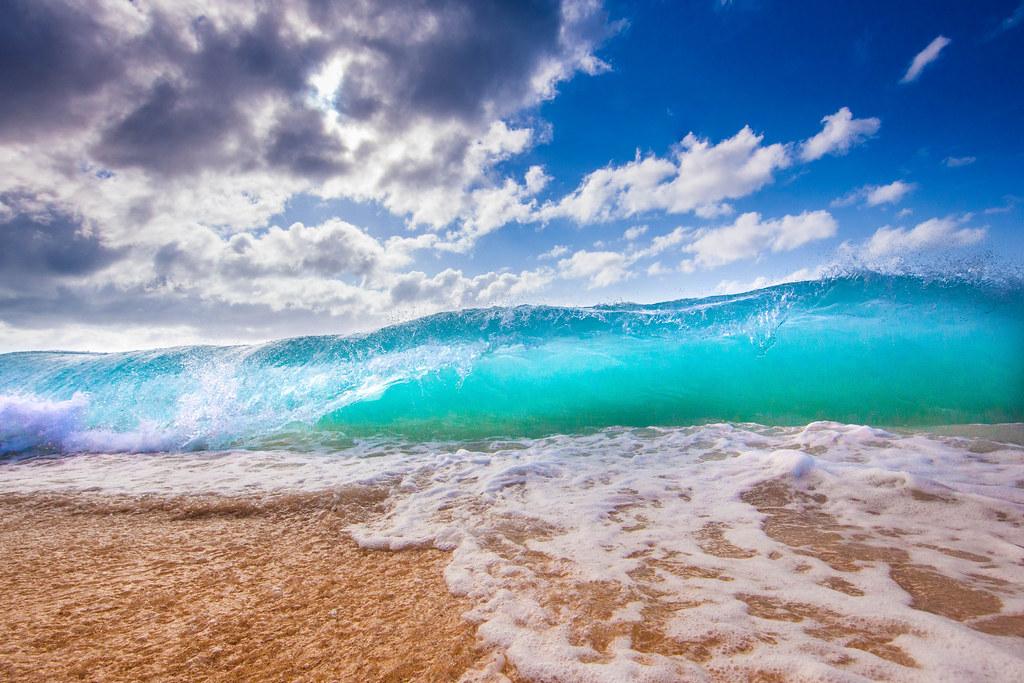 Tropical Island Beach Ambience Sound: North Shore Waves Oahu Hawaii