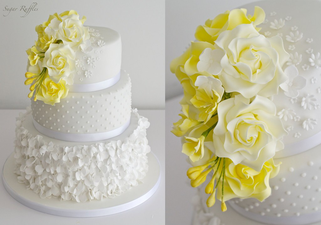 Yellow Petal Cascade Wedding Cake | Charlotte | Flickr