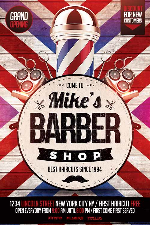 barbershop flyer template psd by xtremeflyers