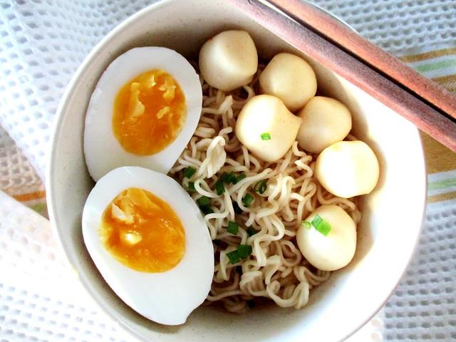 Maggi asam laksa with fish balls and egg